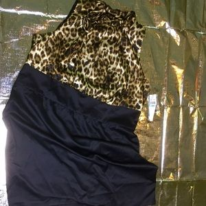 Dress Black with animal print/ leopard top
